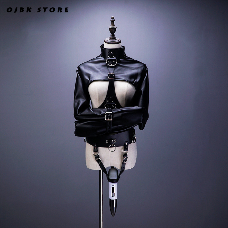 SM Open Breast Cupless Leather BDSM Bondage Jacket Top Women's Restraint Straight Fetish Forced Orgasm Belt For Vibrator Set