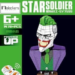 Creator Joker Technical Bust Statue Action Figure Decoration Evil Clown Head Sculpture Remote Control Building Block Toy Gift