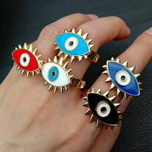 Enamel Drip golden Filled Mixed Color turkis evil eye resizable ring for girl gift(China)