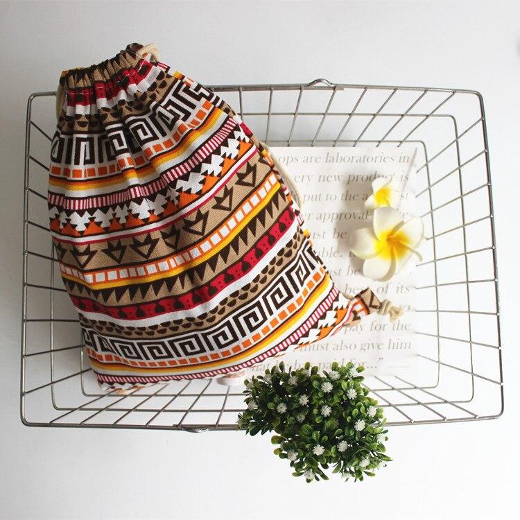 Women Fabric Backpack Female Gypsy Bohemian Boho Chic Aztec Ibiza Tribal Ethnic Ibiza Brown Drawstring Rucksack Bags