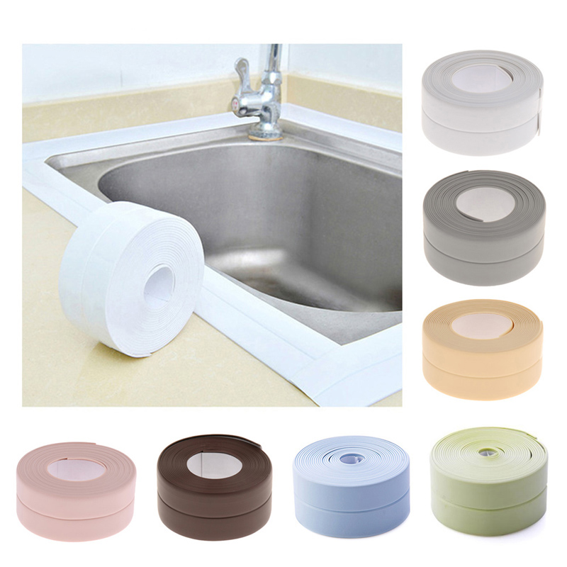 3.2mx38mm Bathroom Shower Sink Bath Sealing Strip Tape Caulk Strip Self Adhesive Waterproof Wall Sticker For Bathroom Kitchen