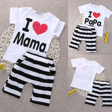 Babys Clothes 9M-24M 2PCS Toddler Baby Girl Boy T-shirt Tee+Striped Pants Shorts Outfits Kids Clothes kids striped tee