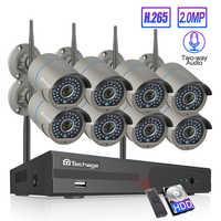 Techage 8CH H.265 Wifi NVR système de caméra bidirectionnel parler Audio sans fil 4/6/8 pièces 2MP CCTV IP caméra HD P2P Kit de Surveillance vidéo