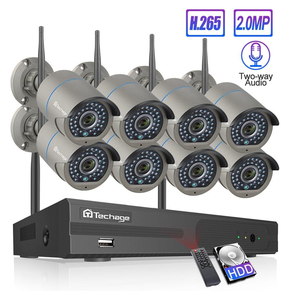 Techage 8CH H.265 Wifi NVR Camera System Two-Way Speak Audio Wireless 4/6/8 Pcs 2MP CCTV IP Camera HD P2P Video Surveillance Kit