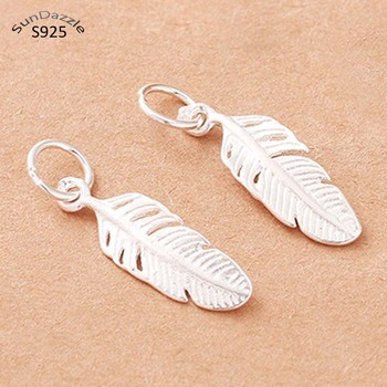 2 pcs Real Pure Solid 925 Sterling Silver Feather Pendant Women Tassel Pendants Necklace Bracelet Jewelry Making Findings Charms lotus fun moment real 925 sterling silver designer fashion jewelry fashion love heart tassel pendant without necklace for women