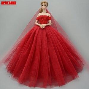 Vermelho evenig vestido de festa vestidos de casamento para barbie boneca fora do ombro roupas para 1/6 bonecas bjd rendas vestido grande para 1:6 boneca