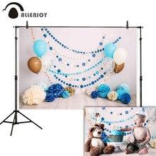 Allenjoy smash bolo fotografia pano de fundo 1st aniversário do bebê interior balão flor photo studio photophone photocall