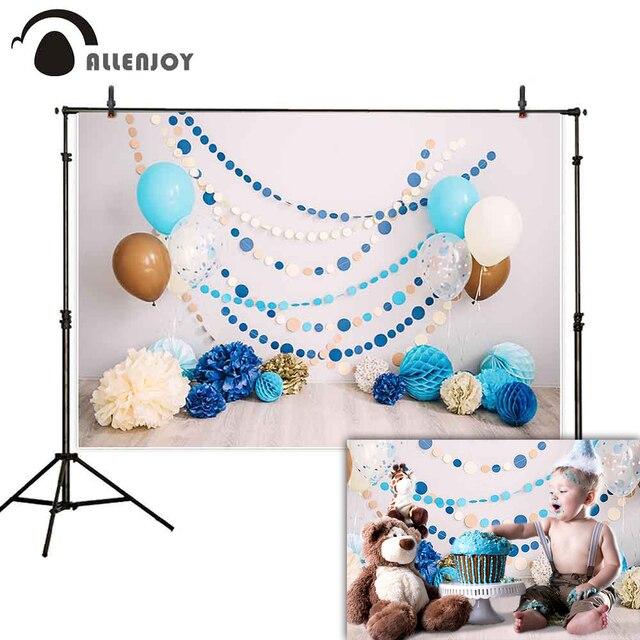 Allenjoy smash gâteau photographie toile de fond 1st anniversaire bébé intérieur ballon fleur photo studio arrière plan photophone photocall