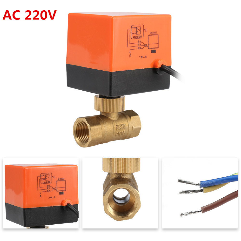 220V 12V Electric Motorized Thread Ball Valve Air-conditioning Water System Controller 2-way 3-wire 1.6Mpa DN15 DN20 DN25