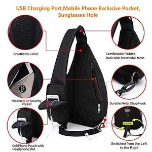 """Image 5 - Erkek kadın omuz çantaları USB şarj Crossbody çanta Anti hırsızlık göğüs çantası büyük kapasiteli 10.5 """"Ipad cep telefonu kısa gezisi çanta"""