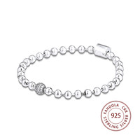 100% New 925 Sterling Silver Bracelet femme Beads & Pave Bangles Bracelets for Women Fashion Jewelry Pulseira accesorios mujer