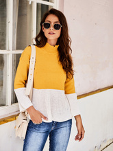 2020 Spring Autumn Contrast Color Sweater Women Long Sleeve Turtleneck Sweater And Pullover Knitted Tops korean autumn new feminine knitted sweater fashion lace up sweater woman tops long sleeve shein pullover knitted tops 10i