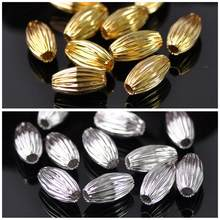 50 pces ouro chapeado cor oval 5x8mm 6x10mm 7x12mm oco plicated metal bronze solto grânulos lote para joias que fazem artesanato diy