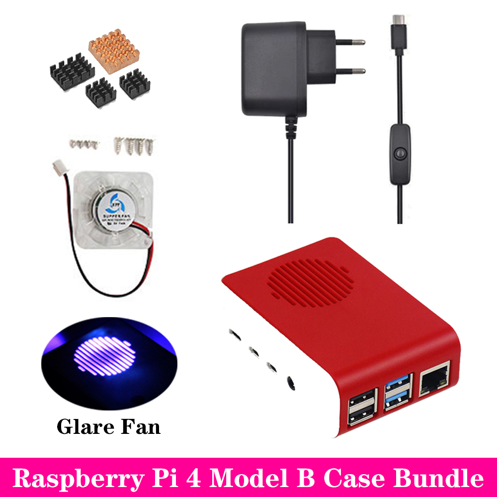 Raspberry Pi 4 Case ABS Case Box Enclosure Shell With Glare Cooling Fan Aluminum Heat Sink For Raspberry Pi 4 Model B Pi 4B Pi4