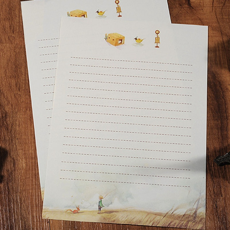 8pcs/set Fairy Tales The Little Prince Story & Retro Four Season Plants Flowers Painting Letter Paper Writing Paper Stationery