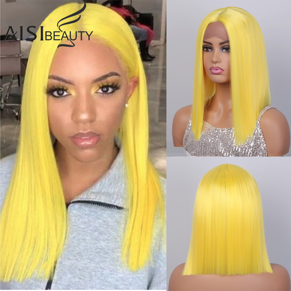 AISIBEAUTY Lace Front Wig Short Bob Wig Medium Lengh Black/Pink Middle Part Synthetic High Temperature Wig For Africa American