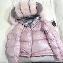 Пальто с натуральным мехом, Воротник из натурального Лисьего меха,, зимняя куртка для женщин, свободный короткий пуховик, куртка на белом утином пуху, Толстая теплая пуховая парка