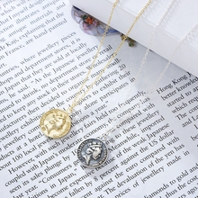 Silvology 925 Sterling Silver Queen Coin Necklace Vintage Round Emboss Elegant Pendant for Women Fashion Jewelry Charm