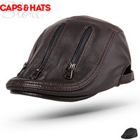 2019 Top Quality Real Leather Berets For Men Top layer goatskin Dad Hats zipper Beret Femme Sombrero Muts Peaked Cap Bere