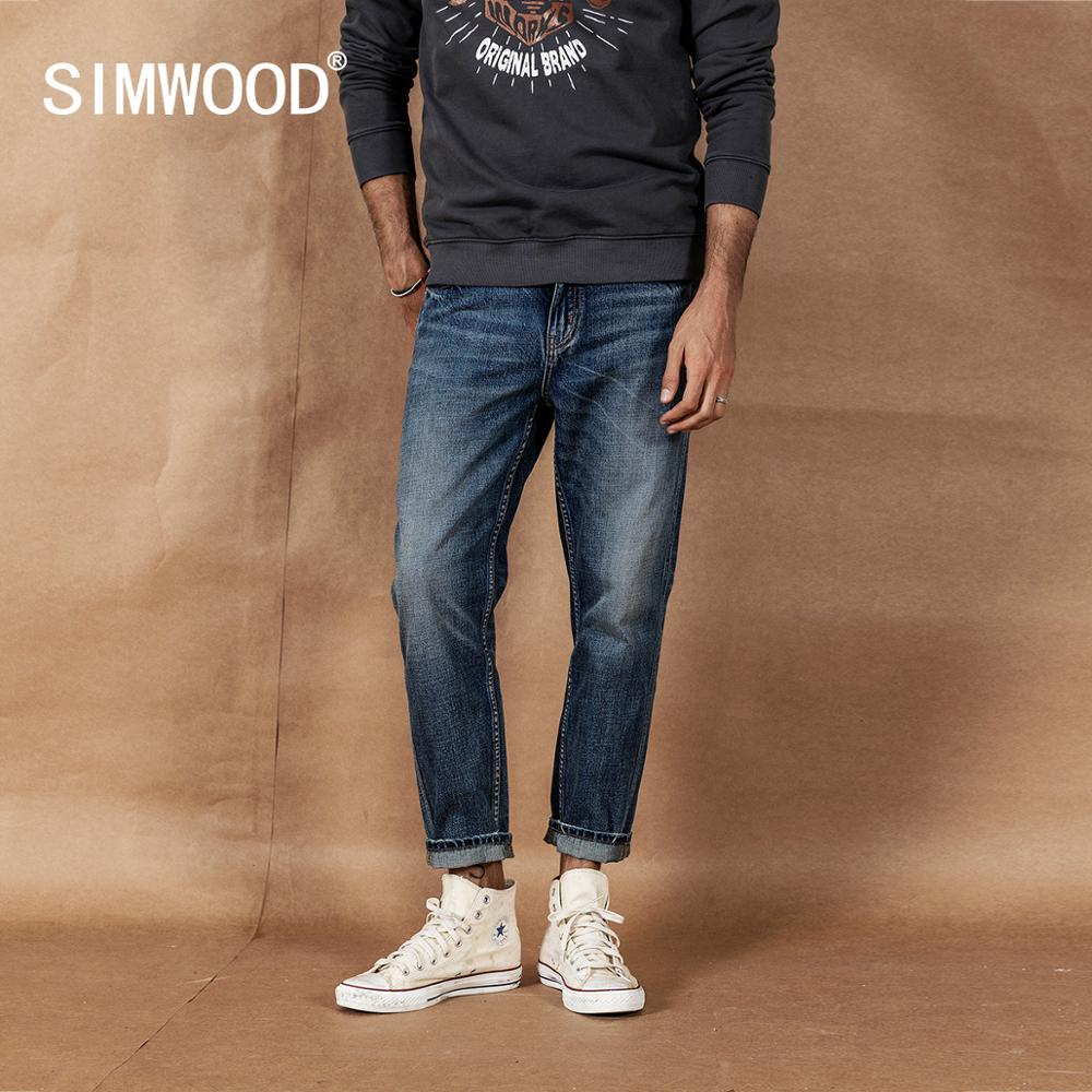 SIMWOOD Vintage Wash Carrot Jeans Men 2019 Autumn New Loose Ankle-length Denim Trousers Plus Size Quality Tapered Jean 19041