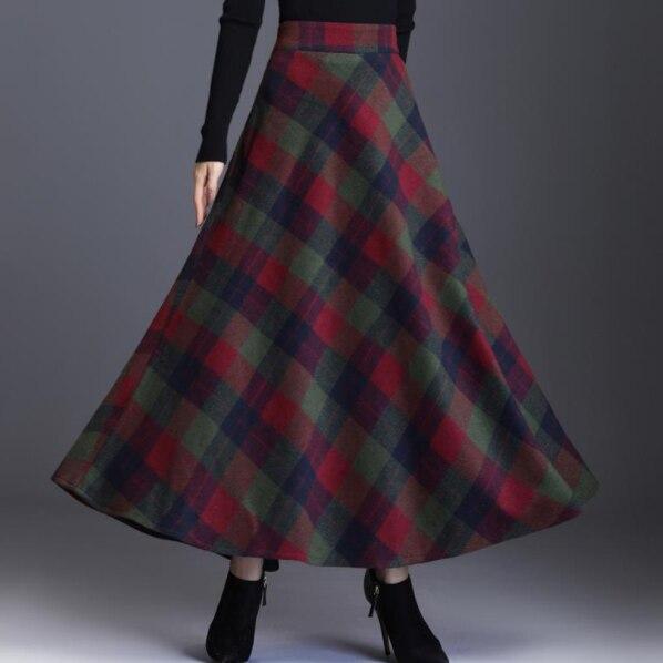 Maxi Wook Rok Womens 2019 Herfst Winter Plus Size 3XL Elegante Koreaanse Stijl Plaid Hoge Taille Lange Kleding Verdikking FF697