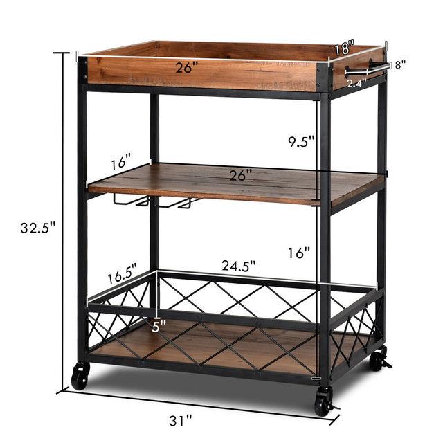 Costway 3 Tier Rolling Kitchen Trolley Island Cart Serving Dining Storage Shelf Utility HW64305 2