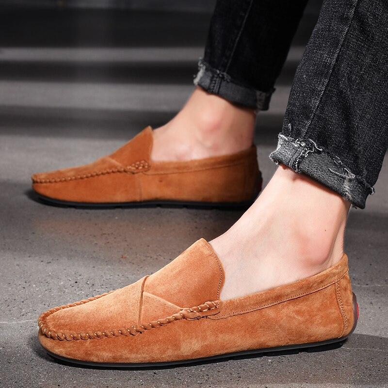 UPUPER Genuine Leather Men Loafers For Men Casual Shoes Soft Moccasins Flats Men Shoes Waterproof Slip On Footwear Plus Size 48
