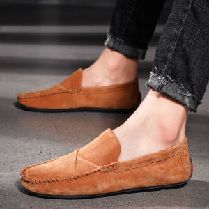 UPUPER Genuine Leather Men Loafers For Men Casual Shoes Soft Moccasins Flats Men Shoes Waterproof Slip On Footwear Plus Size 48