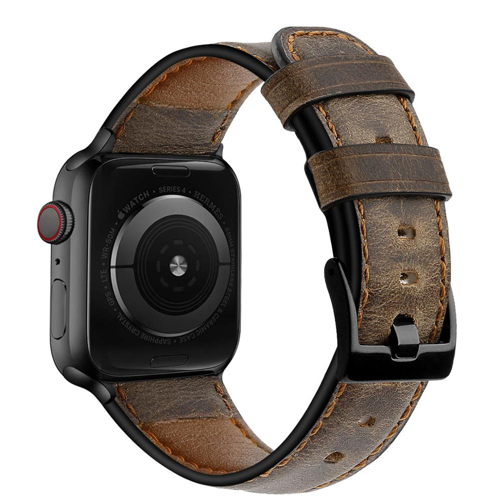 Retro Cow Leather strap for <font><b>Apple</b></font> <font><b>watch</b></font> band pulseira <font><b>Apple</b></font> <font><b>watch</b></font> 5 4 <font><b>3</b></font> 2 1 44 mm 40mm iWatch band <font><b>42mm</b></font> 38mm watchband bracelet image
