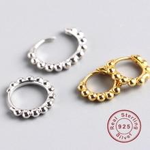 Minimalist round 100% Real 925 sterling silver ear clip small hoop earrings for Women Girl geometric hipster buckle fine jewelry