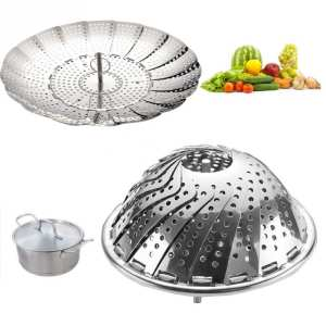Steamer Vapor-Cooker Food-Basket Kitchen-Tool Vegetable Folding Stainless-Steel Mesh