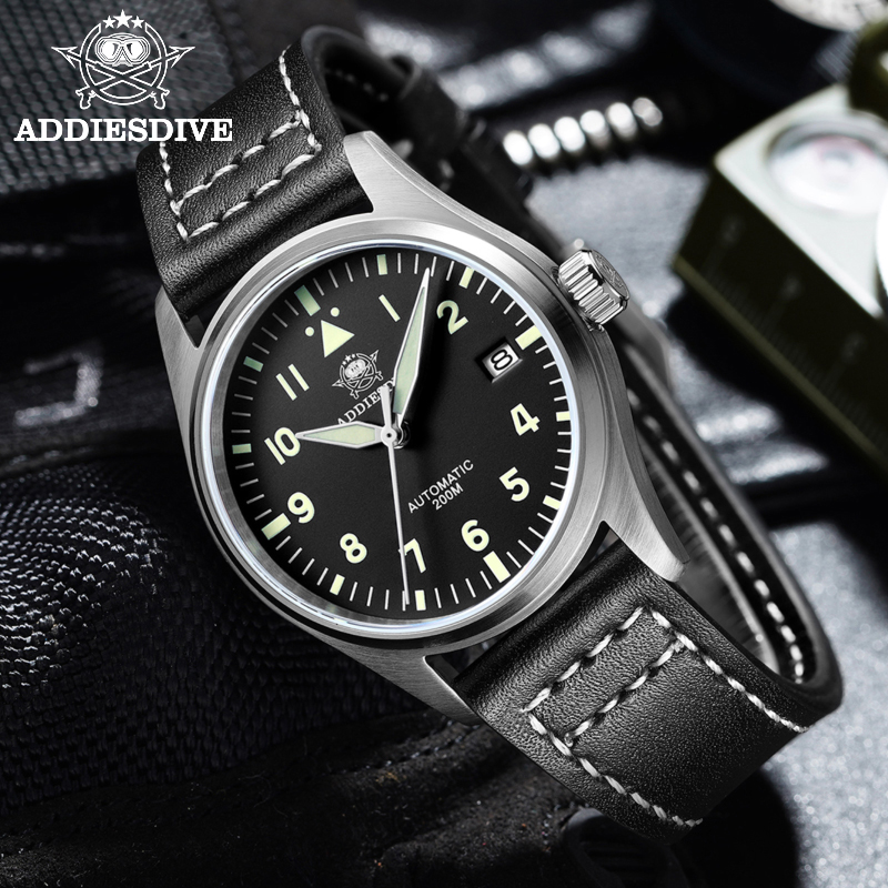 Automatic Mechanical Men's watch Sapphire Crystal Stainless Steel NH35 Pilot watch1940  Leather Waterproof automatic watch men 6