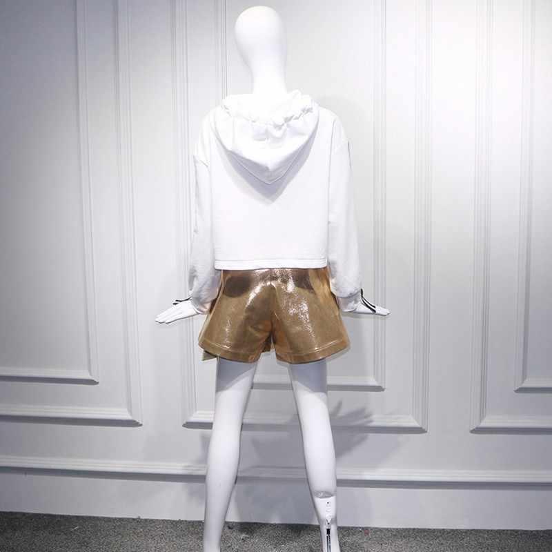 Moda damska dwuczęściowy zestaw top i spódnica z kapturem w paski Patchwork z długim rękawem krotka bluza złota asymetryczna krótka spódniczka