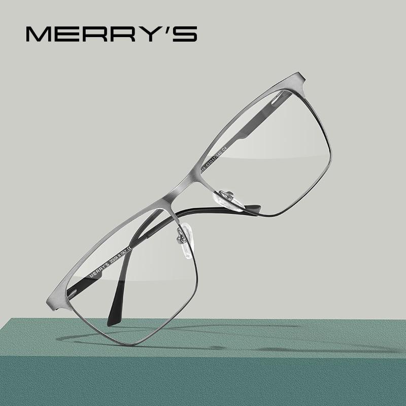 MERRYS DESIGN Men Luxury Titanium Alloy Optics Glasses Frames Male Square Ultralight Myopia Prescription Eyeglasses S2118