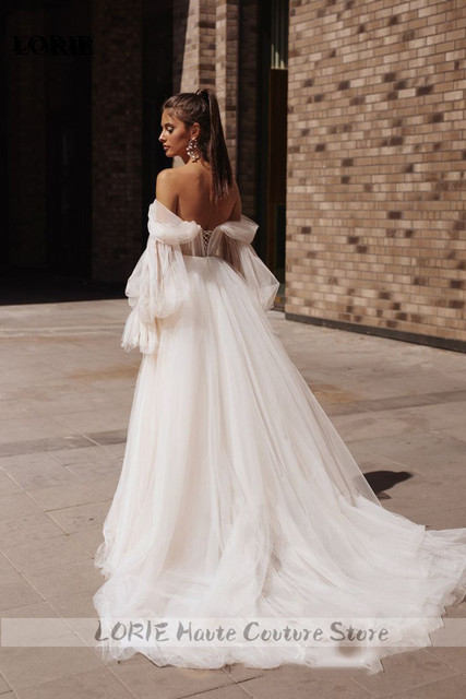 Lorie princesa vestidos de casamento querida puff manga móvel praia vestido de noiva fora do ombro rendas até voltar boho vestidos de casamento 3