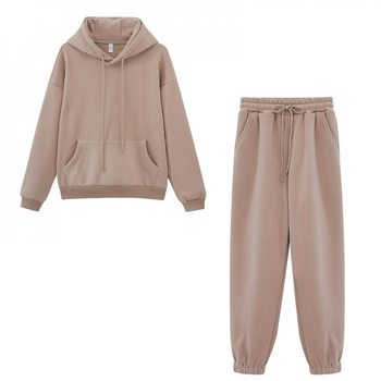 Autumn Winter Fleece Hoodies Vintage sweatshirt Two Piece Set Woman Tracksuits Jogger Pants thick warm clothes image
