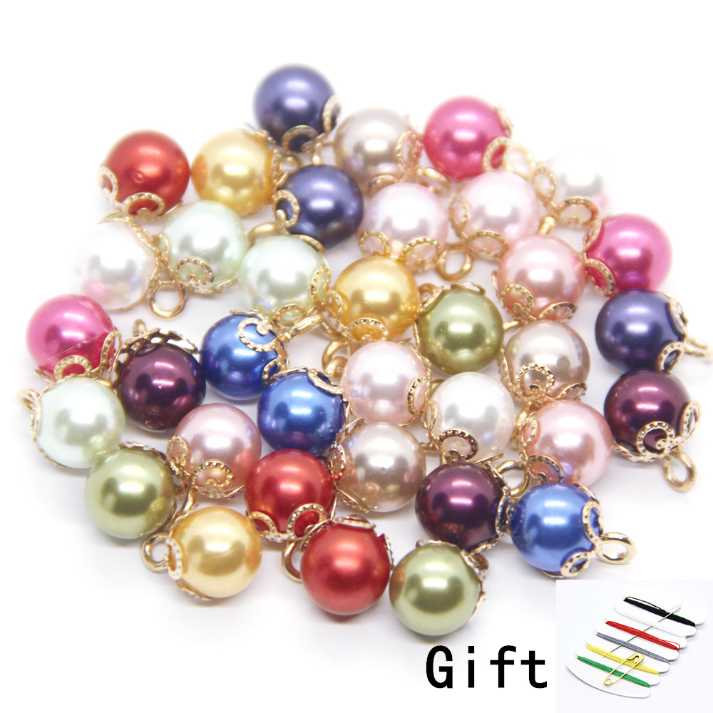 20pcs 10mm Faux Pearl Color Shirt Buttons For Clothing Sewing Decor Vintage Women Child Coat Small DIY Accessories Wholesale