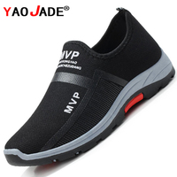 Zapatillas ligeras de malla para Hombre, zapatos masculinos para caminar, transpirables, sin cordones, para verano