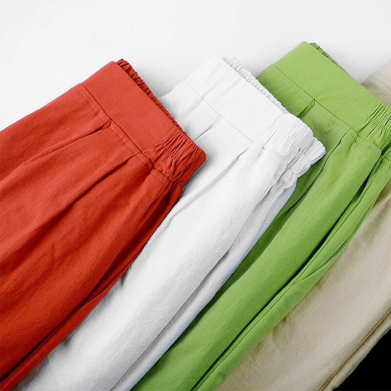 Breathable Beach Mesh Pants Streetwear Vintage Slim Waist Pencil Pants Summer Casual 95% Cotton Linen Harem Pants Women