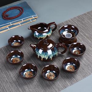 Image 4 - Çin Kung Fu çay seti seramik sır çaydanlık çay fincanı Gaiwan porselen Teaset ısıtıcılar Teaware setleri Drinkware çin çay töreni