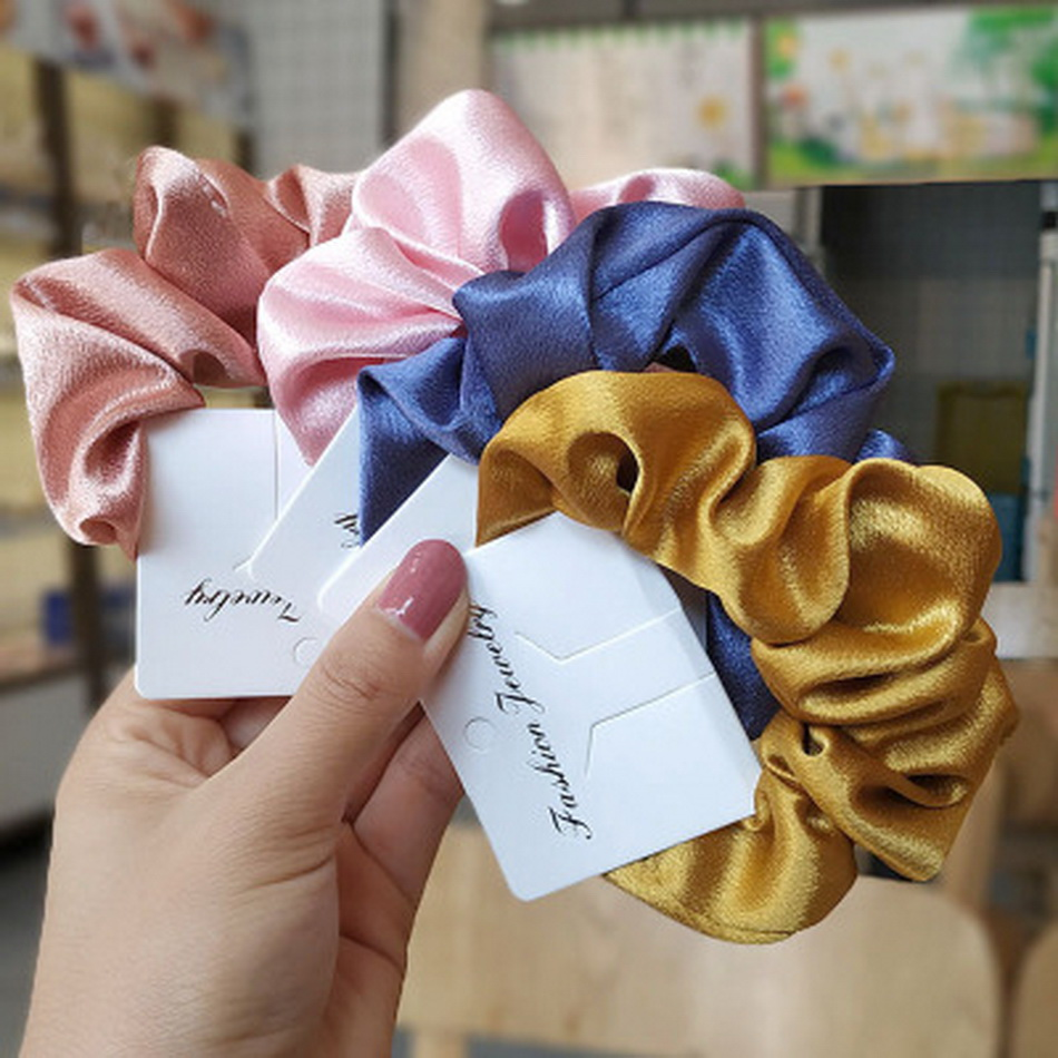 Girl Elastic Silk Scrunchie Women Ruban Satin Purple Hair Bands Black Crunchy Hair Ties Gum Ponytail Holder Chouchou Accessory