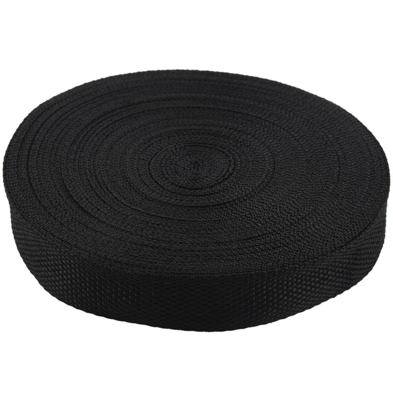 NEW-25mmx20m Roll Nylon Tape Strap For Webbing Bag Strapping Belt Making DIY Craft - Black