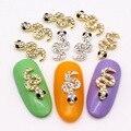 10 шт. 3D блестящие стразы, покрывающие золото, серебро, змея, дизайн ногтей, черные стразы, украшения для ногтей из сплава, материалы для ногте...