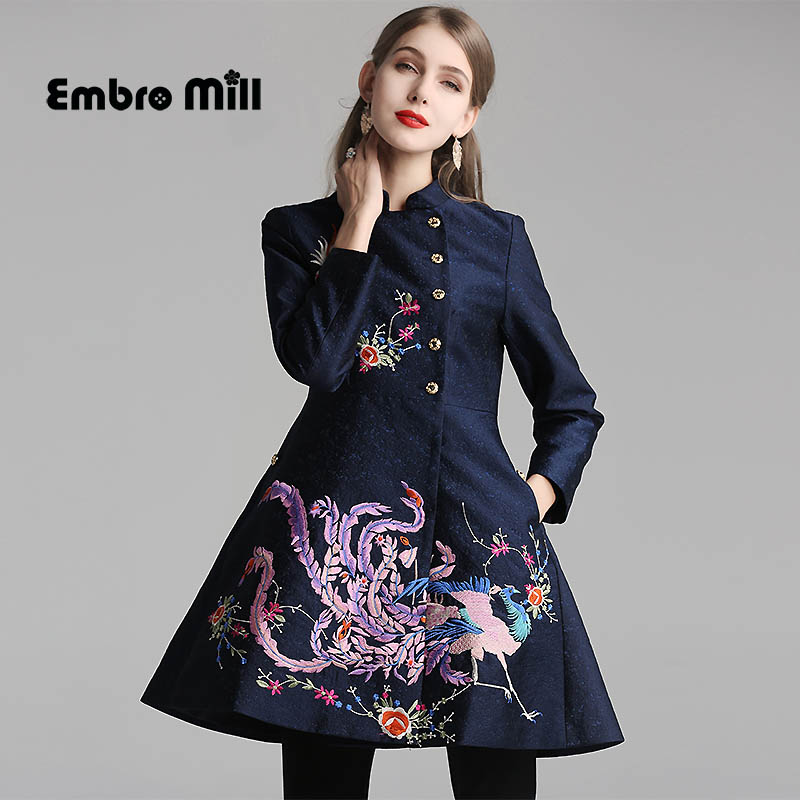 Spring and autumn Slim Coat Indie Folk Style Medium and long section Retro embroidered elegant woman Coat M-2XL