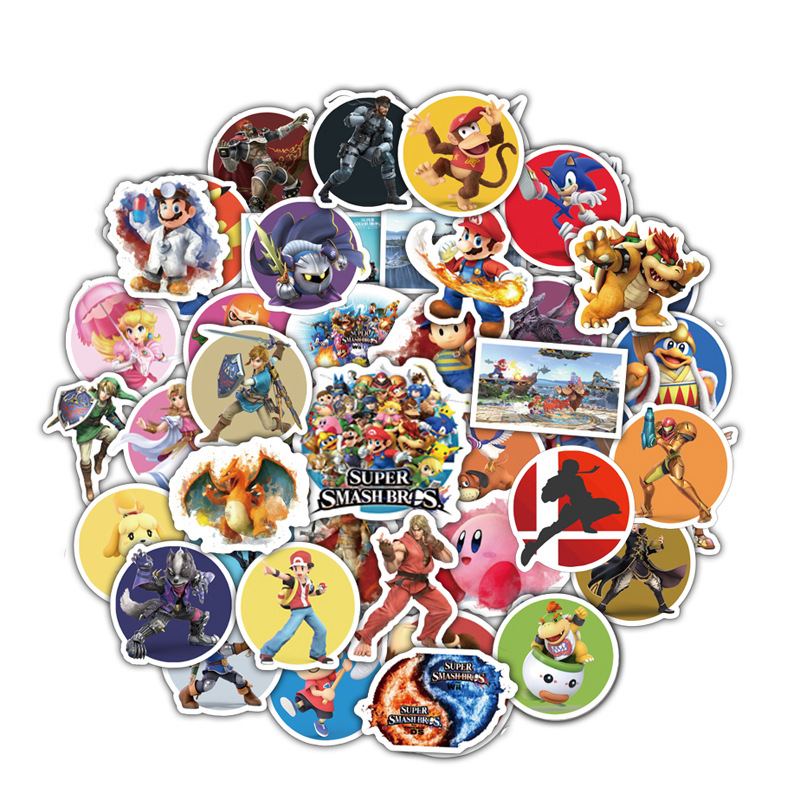 50pcs Anime Game Mario Cartoon Sticker Waterproof Suitcase DIY Laptop Guitar Skateboard Toy Lovely Cartoon For Boy Stickers F3