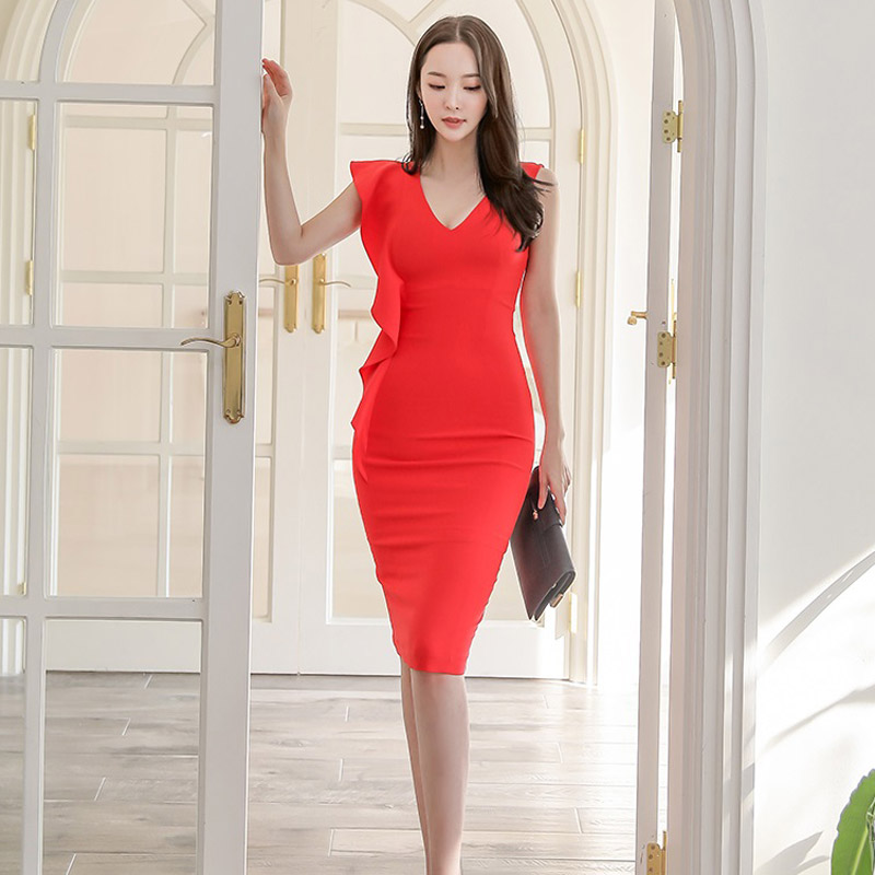 2020 summer new Korean version of the ladies' temperament V-neck slim ruffled bag hip dress Office Lady  Knee-Length