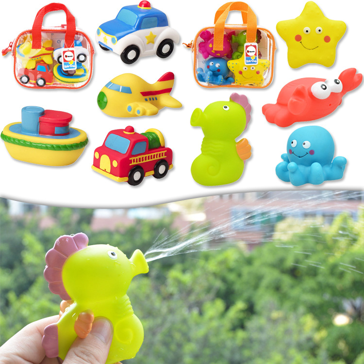 4 Pcs Cute Animals Swimming Water Toys Children Play Water Play Soft Plastic Water Spray Toy Bathing Toy For Baby