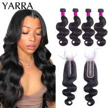 Body-Wave-Bundles Closure Brazilian Yarra with 2x6/Lace/Pre-plucked Remy-Hair