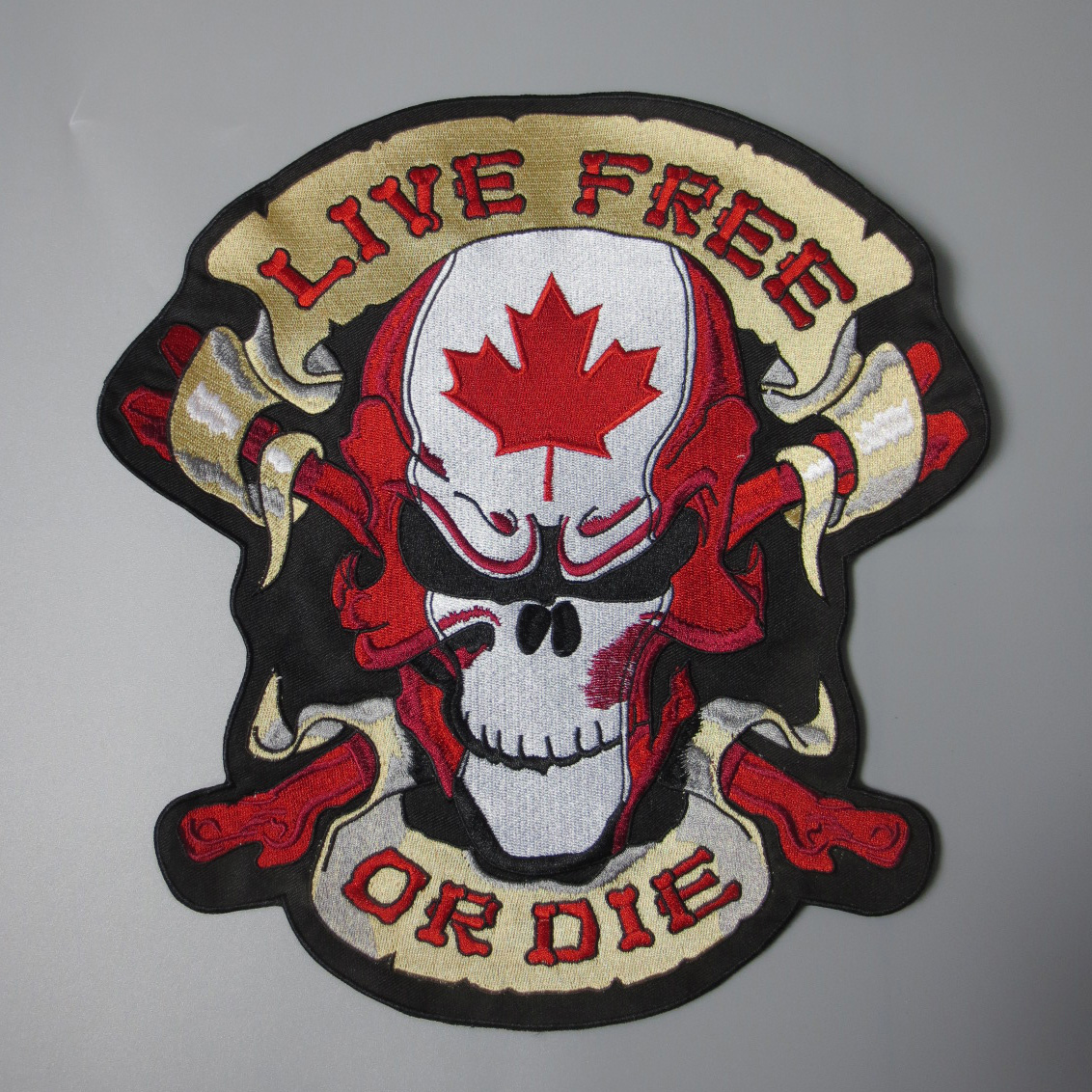 12 inches large Embroidery Patches for Jacket Back Vest Motorcycle Biker Sew on CANADA Maple Leaf Skull LIVE FREE OR DIE Brown Patches    - AliExpress