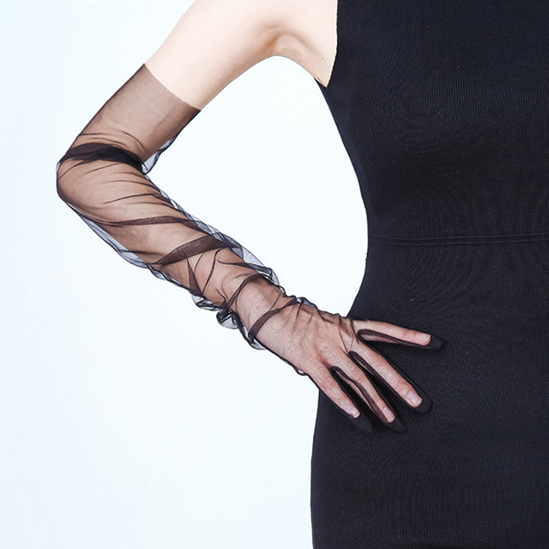 Summer Women Arm Sleeve Sunscreen Weeding Glove Transparent Sexy Lace Glove Mesh Long Full Finger Touch Screen Gloves Arm Sleeve